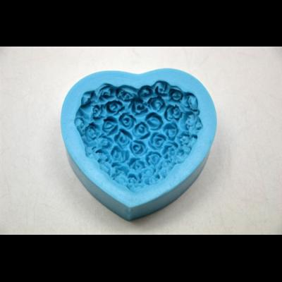 Marcipán/fondant mintázó rózsa-szív teli