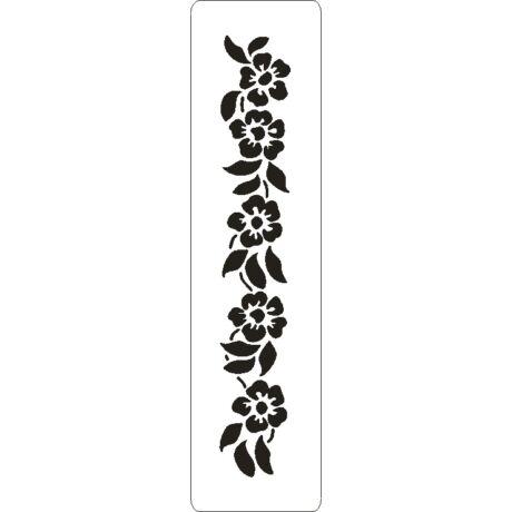3D stencil 50*195*1 mm, virág fűzér
