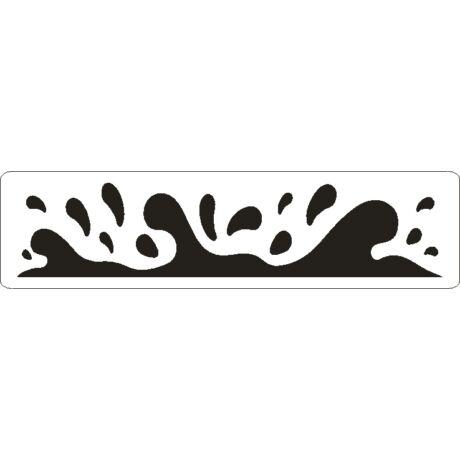 3D stencil 50*195*1 mm,  tengeri hullámok
