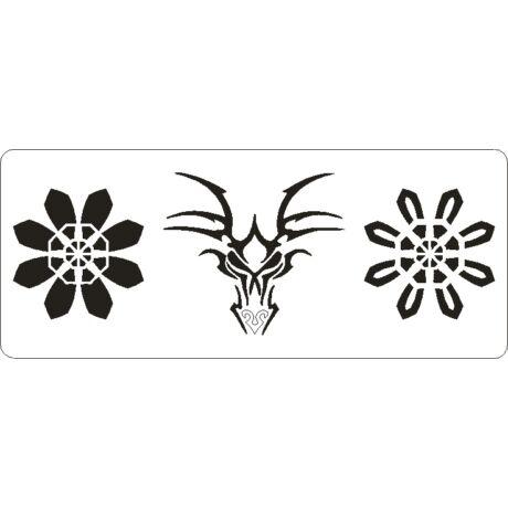 3D stencil 80*195*1 mm, sárkányfej virágokkal