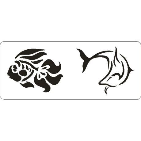 3D stencil 80*195*1 mm, hal és delfin