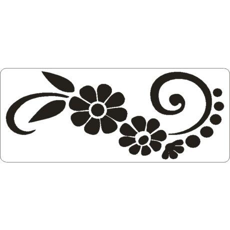 3D stencil 80*195*1 mm, nagy virág 8 sziromm,al