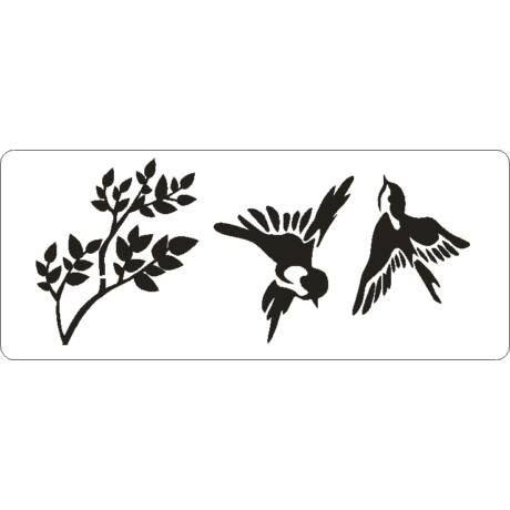 3D stencil 80*195*1 mm, madárkák faággal