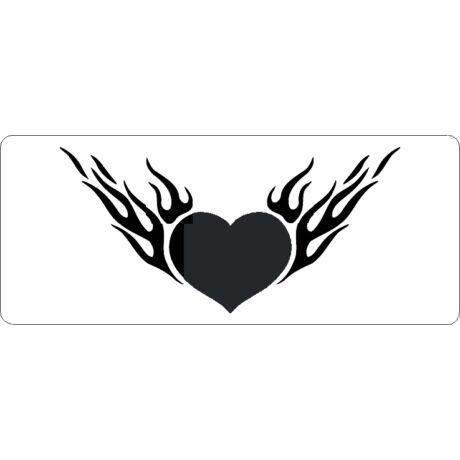 3D stencil 80*195*1 mm, lángoló szív