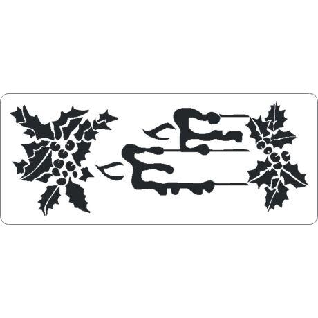 3D stencil 80*195*1 mm, karácsonyi gyertya