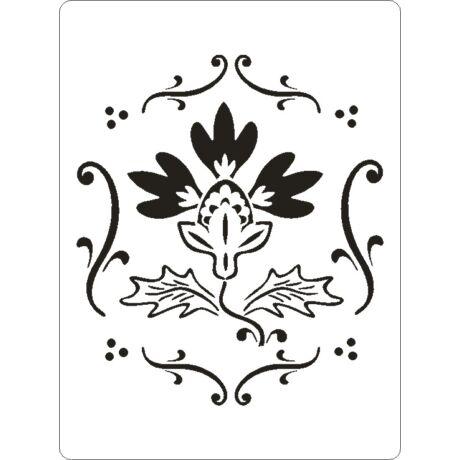 3D stencil 145*195*1 mm, három szirmú virág keretben