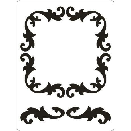 3D stencil 145*195*1 mm, díszes keret négyzet sormintával