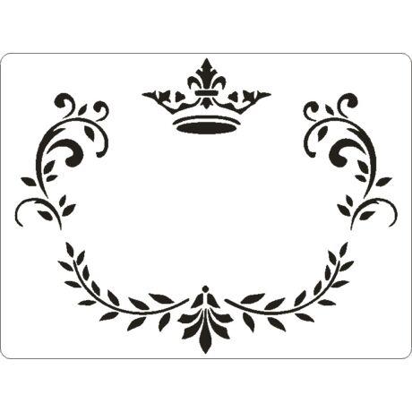 3D stencil 145*195*1 mm, koronás keret