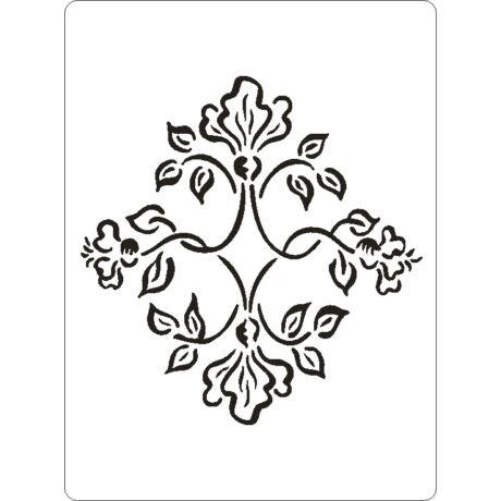 3D stencil 145*195*1 mm, virágok, levelek, indák