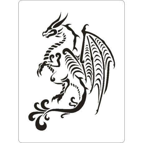 3D stencil 145*195*1 mm, sárkány