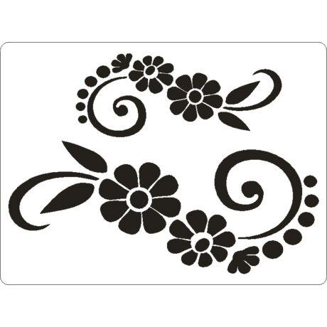 3D stencil 145*195*1 mm, nagy virágok