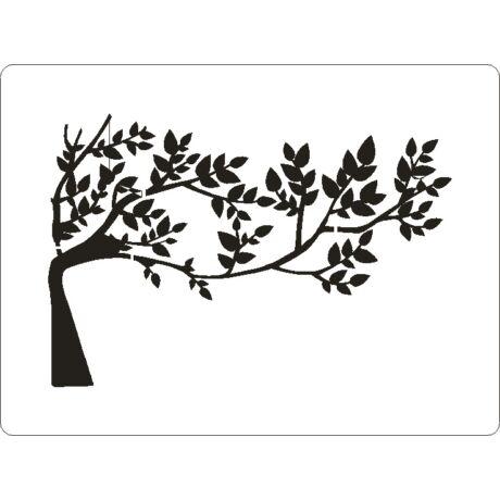 3D stencil 145*195*1 mm, fa levelekkel