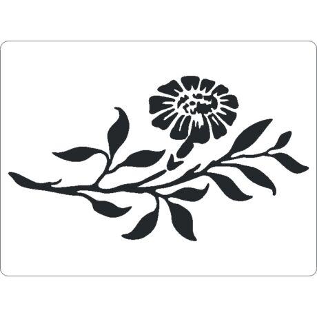 3D stencil 145*195*1 mm, virág levelekkel