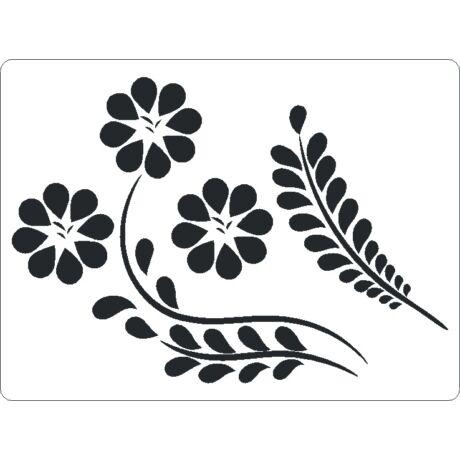 3D stencil 145*195*1 mm, virág 8 sziromm,al