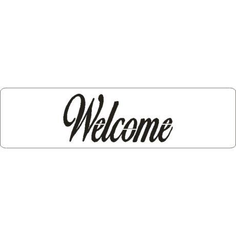 """3D stencil 50*195*1 mm, felirat """"Welcome"""""""