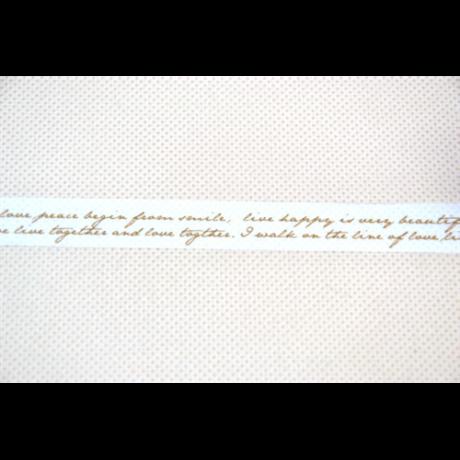 Dekorszalag írás fehér-arany 15 mm * 10 m
