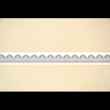 Dekorszalag csipke fehér-barna 15 mm * 10 m