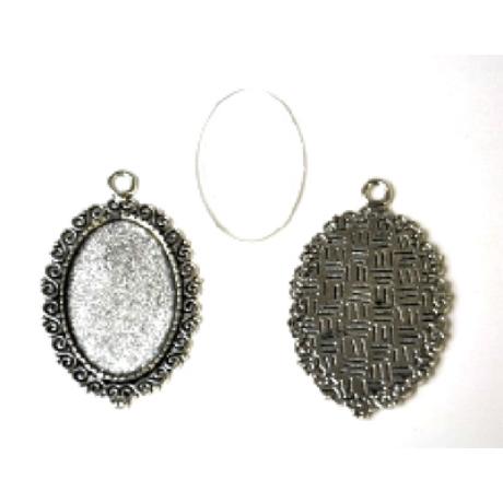 Medál ovál hullám antik ezüst színű  + 20*30 mm lencse