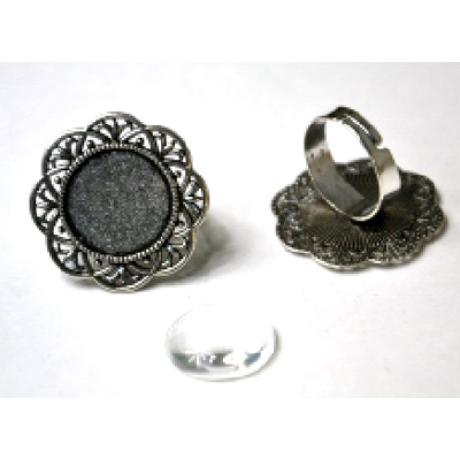 Gyűrű alap kerek margaréta, 30*30 mm fej + 18 mm lencse