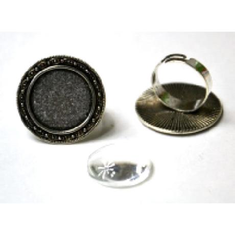 Gyűrű alap kerek hullám, 28*28 mm fej + 20 mm lencse