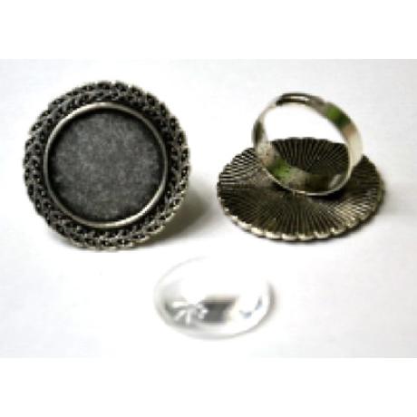 Gyűrű alap kerek koszorú, 29*29 mm fej + 20 mm lencse