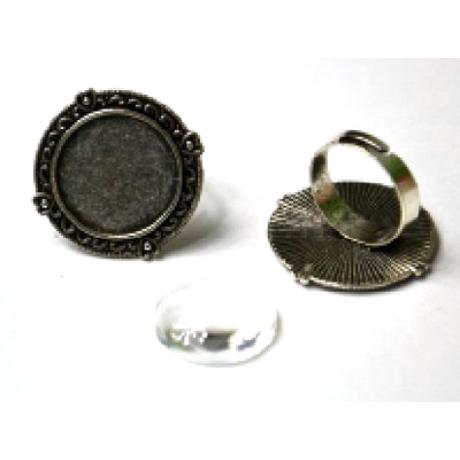 Gyűrű alap kerek inda, 28*28 mm fej + 20 mm lencse