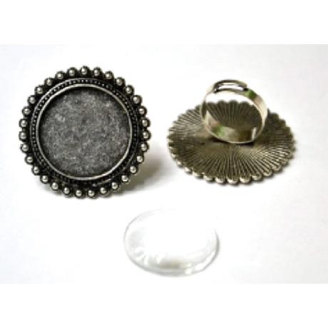 Gyűrű alap kerek margaréta, 36*36 mm fej + 25 mm lencse
