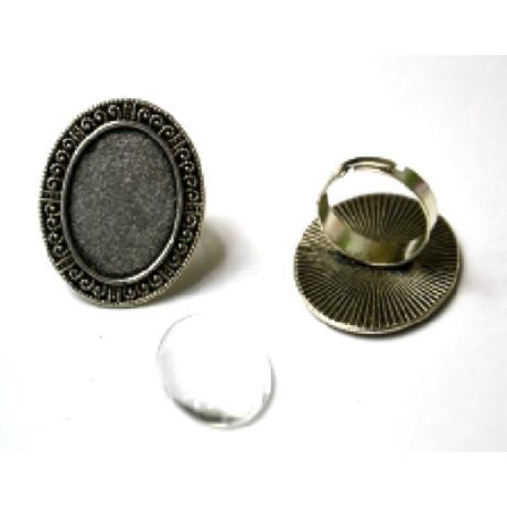 Gyűrű alap ovális, egyszerű  33*27 mm fej + 18*25 mm lencse