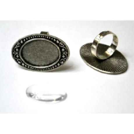 Gyűrű alap ovális hullám, 38*27 mm fej + 18*25 mm lencse