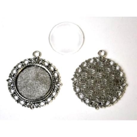 Medál kör antik ezüst színű, rusztikus + 25 mm lencse