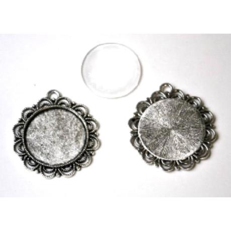 Medál kör virág antik ezüst színű +25 mm lencse