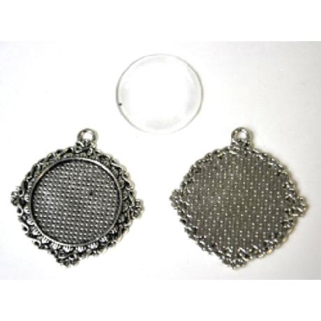 Medál kör végtelen csomós antik ezüst színű + 25 mm lencse