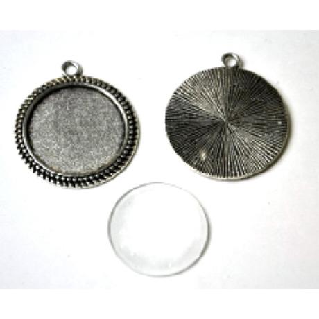 Medál kör apró antik ezüst színű + 25 mm lencse