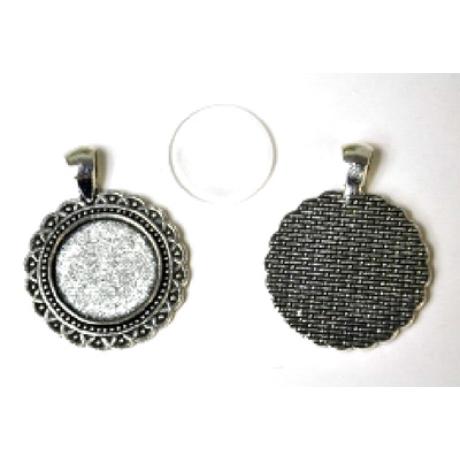 Medál kör kelta antik ezüst színű + 20 mm lencse