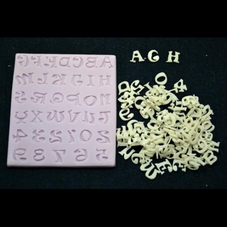 Marcipán/fondant mintázó, szilikon, játékos betűk
