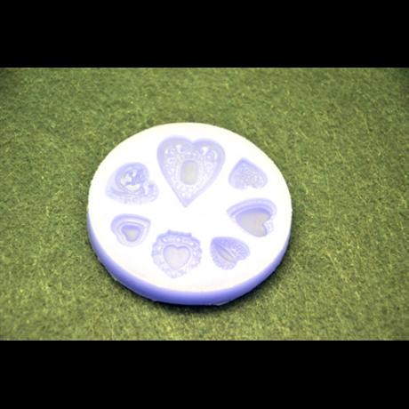 Marcipán/fondant mintázó, szilikon, mintás szívek