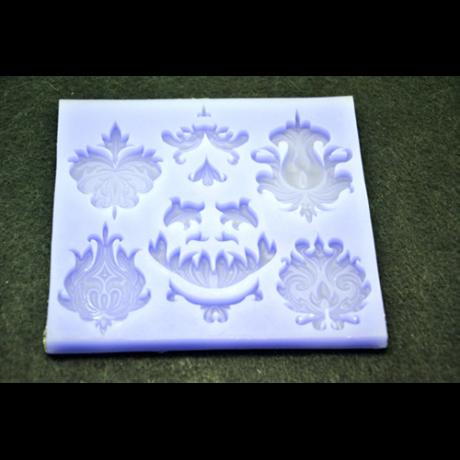 Marcipán/fondant mintázó, szilikon, lap barokk virág