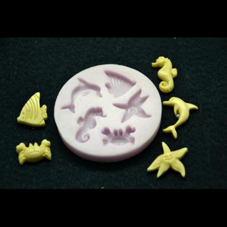 Marcipán/fondant mintázó, szilikon, tengeri állatok (5-ös)