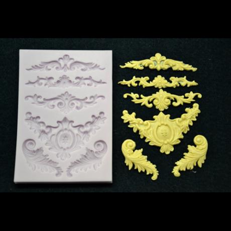 Marcipán/fondant mintázó, szilikon, barokk minták (6-os)