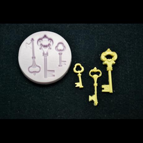 Marcipán/fondant mintázó, szilikon, kulcsok