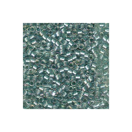 Miyuki Delica 11/0, Csillogó aquazöld közepű kristály AB, 5 g