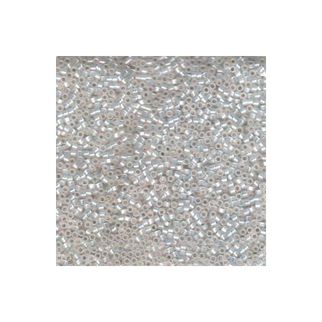 Miyuki Delica 11/0, Aranyozott közepű fehér opál, 5 g