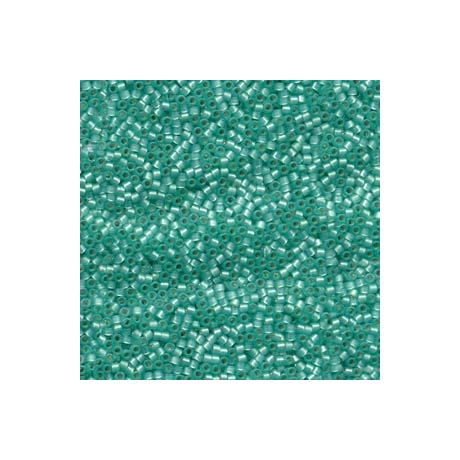 Miyuki Delica 11/0, Merítve festett ezüst közepű mentazöld alabástrom*, 5 g