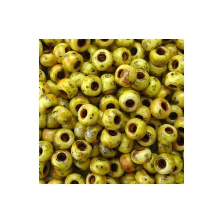Miyuki kásagyöngy 8/0   8-94512  Matt kanári sárga picasso  5 g