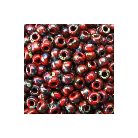 Miyuki kásagyöngy 8/0   8-94513  Matt vörös gránát  picasso  5 g