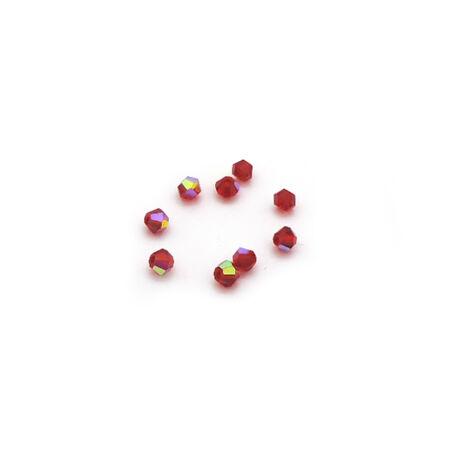 Csiszolt kúpos gyöngy AB 4 mm, piros 100 db/cs