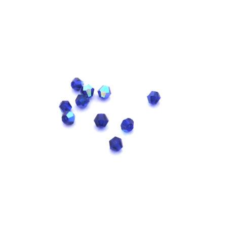 Csiszolt kúpos gyöngy AB 4 mm, sötétkék 100 db/cs