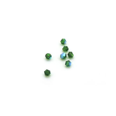 Csiszolt kúpos gyöngy AB 4 mm, sötétzöld 100 db/cs