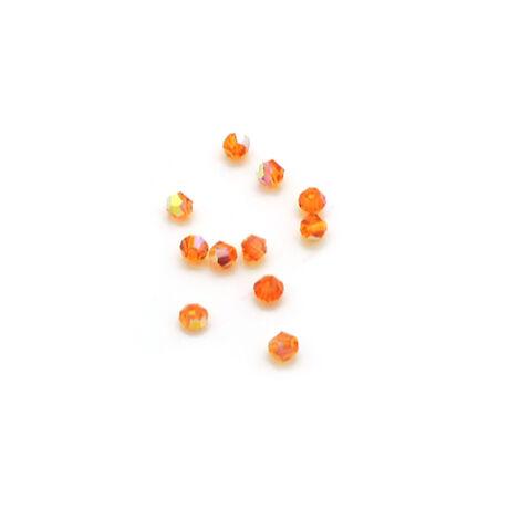 Csiszolt kúpos gyöngy AB 4 mm, narancs 100 db/cs