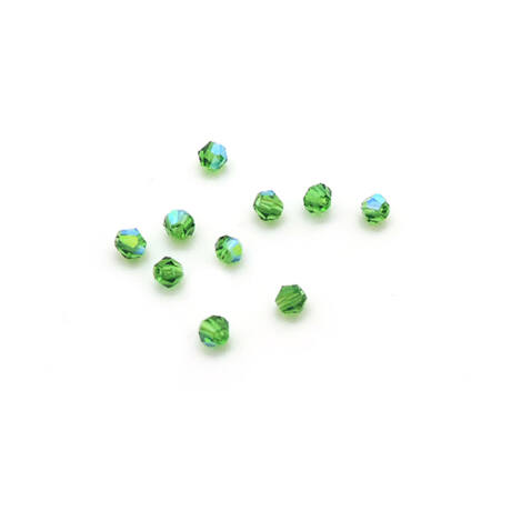 Csiszolt kúpos gyöngy AB 4 mm, zöld 100 db/cs